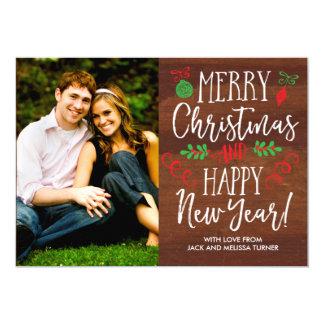 Tarjeta Navidad indicado con letras de la viruta de la