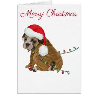 Tarjeta Navidad inglés del perrito del dogo
