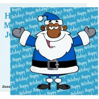 Tarjeta Navidad Jánuca Kwanzaa de Santa del afroamericano