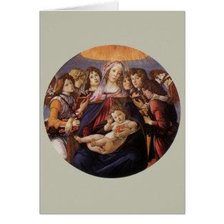Tarjeta Navidad Madonna y ángeles del niño w por