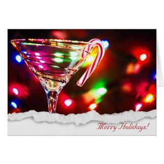 Tarjeta Navidad Martini con el bastón de caramelo