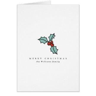 Tarjeta Navidad minimalista de la baya del acebo