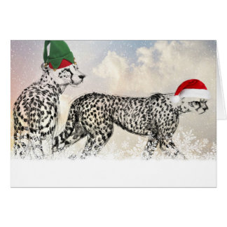 Tarjeta Navidad mismo de un guepardo