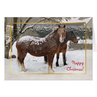 Tarjeta Navidad nevado de los caballos