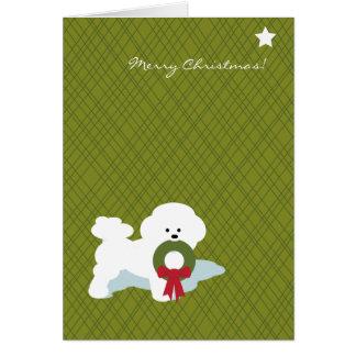 Tarjeta Navidad Notecard de Bichon Frise