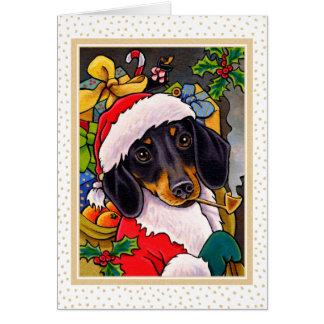 Tarjeta Navidad Notecard del Dachshund del perro de Santa