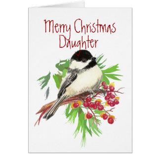 Tarjeta Navidad, pájaro del Hija-Chickadee, naturaleza,