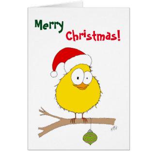 Tarjeta Navidad: Pájaro divertido (amarillo)