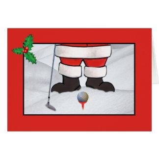 Tarjeta Navidad, Papá Noel que juega a golf en la nieve