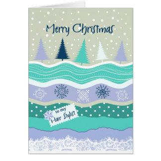 Tarjeta Navidad para el estilista, cordón de los árboles