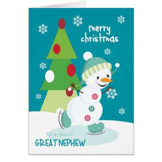 Tarjeta Navidad para el gran muñeco de nieve del patinaje