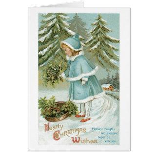 Tarjeta Navidad pasado de moda, chica