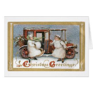 Tarjeta Navidad pasado de moda, coche del vintage