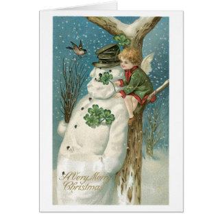 Tarjeta Navidad pasado de moda, muñeco de nieve