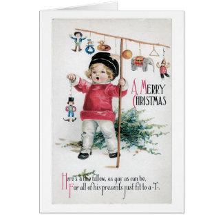 Tarjeta Navidad pasado de moda, niño