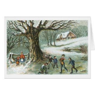 Tarjeta Navidad pasado de moda, paisaje Nevado