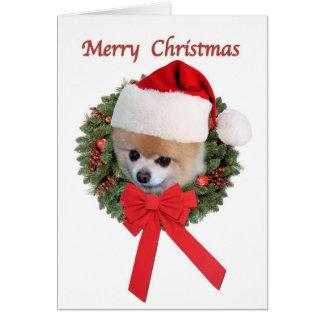 Tarjeta Navidad, perro de Pomeranian, gorra de Santa