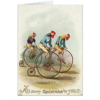 Tarjeta Navidad - pollos que montan Penique-Cominos