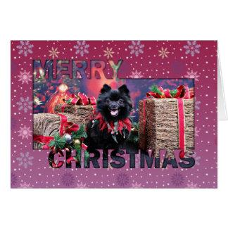 Tarjeta Navidad - Pomeranian - Mazie