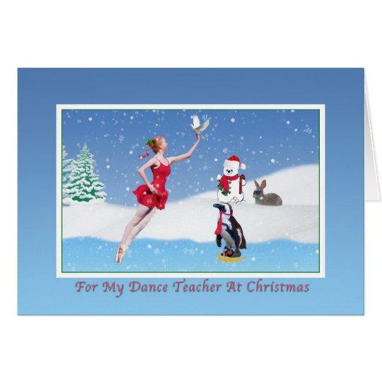 Tarjeta Navidad, profesor de la danza, bailarina,