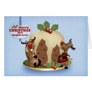 Tarjeta Navidad pudín y reno del hijo y de la nuera