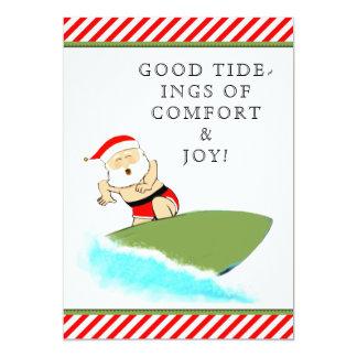Tarjeta Navidad que practica surf