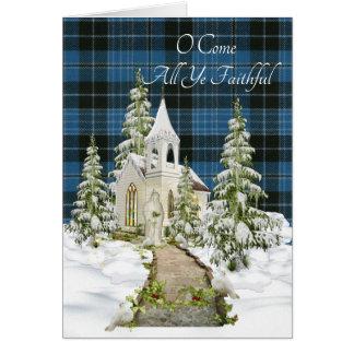 Tarjeta Navidad religioso del tartán antiguo del clero