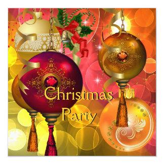 Tarjeta Navidad roja del verde amarillo del oro de la