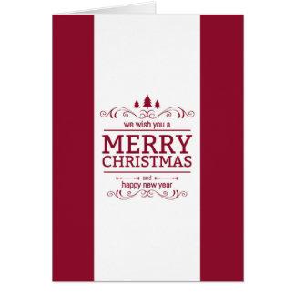 Tarjeta Navidad rojo y blanco y Año Nuevo