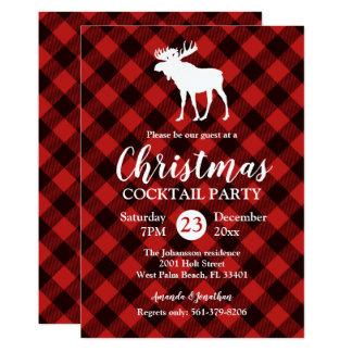 Tarjeta Navidad rojo y negro de los alces y del búfalo de