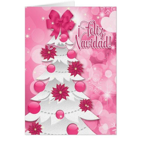 Tarjeta Navidad rosado del Poinsettia de Feliz Navidad del