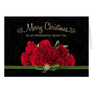 Tarjeta Navidad - rosas rojos - PAL secreto - nevando -