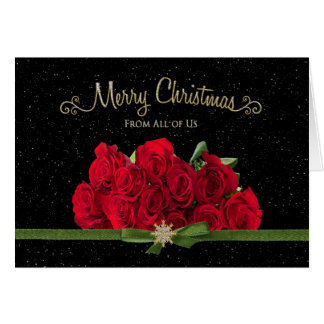 Tarjeta Navidad - rosas rojos - todos nosotros - nevando -