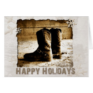 Tarjeta Navidad rústico de las botas del vaquero que