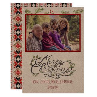 Tarjeta Navidad rústico del día de fiesta de la foto del