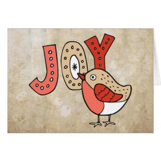 Tarjeta Navidad rústico del pájaro alegre