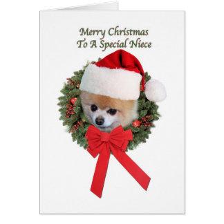 Tarjeta Navidad, sobrina, perro de Pomeranian
