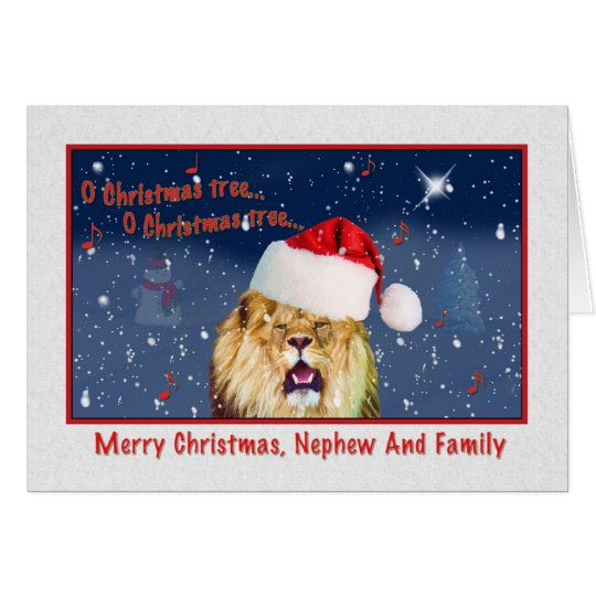 Tarjeta Navidad, sobrino y familia, león en el gorra de