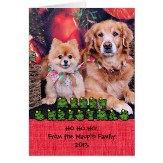 Tarjeta Navidad - soplo de Pom - oso del golden retriever