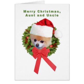 Tarjeta Navidad, tía y tío, perro de Pomeranian, Santa