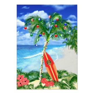 Tarjeta Navidad tropical de la playa
