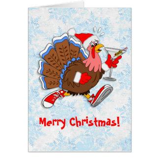 Tarjeta Navidad Turquía achispada (Martini)