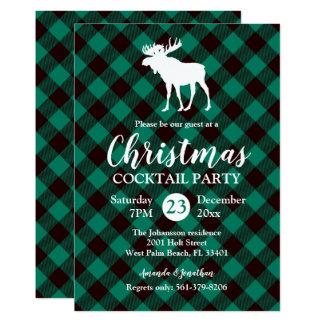 Tarjeta Navidad verde del modelo de la tela escocesa de