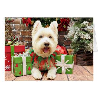 Tarjeta Navidad - Westie - afortunado