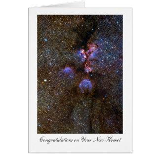 Tarjeta Nebulosa de la pata de los gatos, enhorabuena en