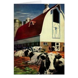 Tarjeta Negocio del vintage, vacas de leche de Holstein en