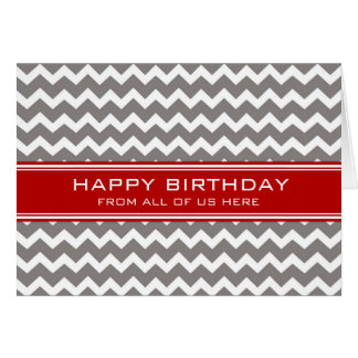 Tarjeta Negocio gris rojo de Chevron del cumpleaños del