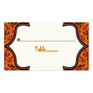 Tarjeta negra anaranjada del lugar de Halloween Tarjetas De Visita