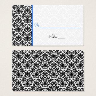 Tarjeta negra, blanca, azul del lugar del boda del