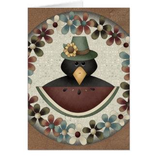 Tarjeta negra de la acción de gracias del cuervo